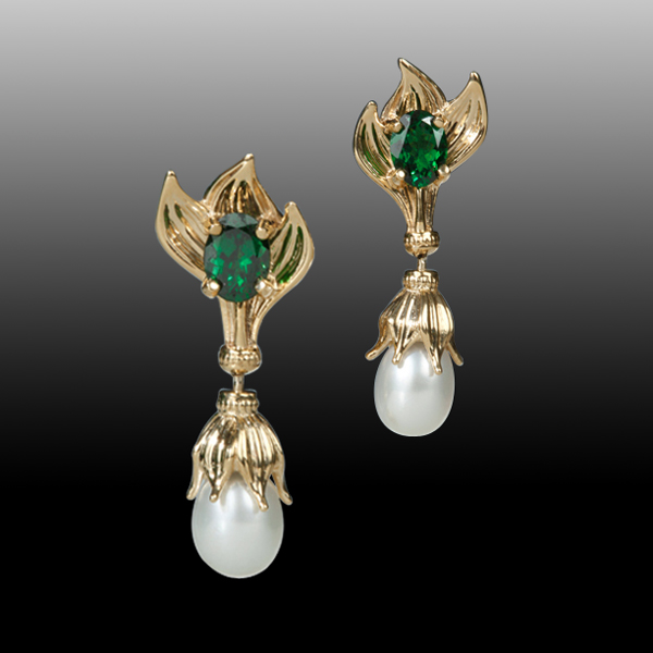 AndreaKoenig 18K Tsavorite & Pearl Earrings
