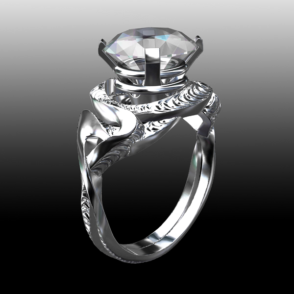 AndreaKoenig_ Diamond textured Intertwinned Engagement Ring